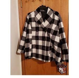 NWT Black and White Plaid Coat